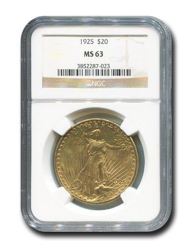 1925 No Mint Mark Saint Gaudens Twenty Dollar NGC MS-63