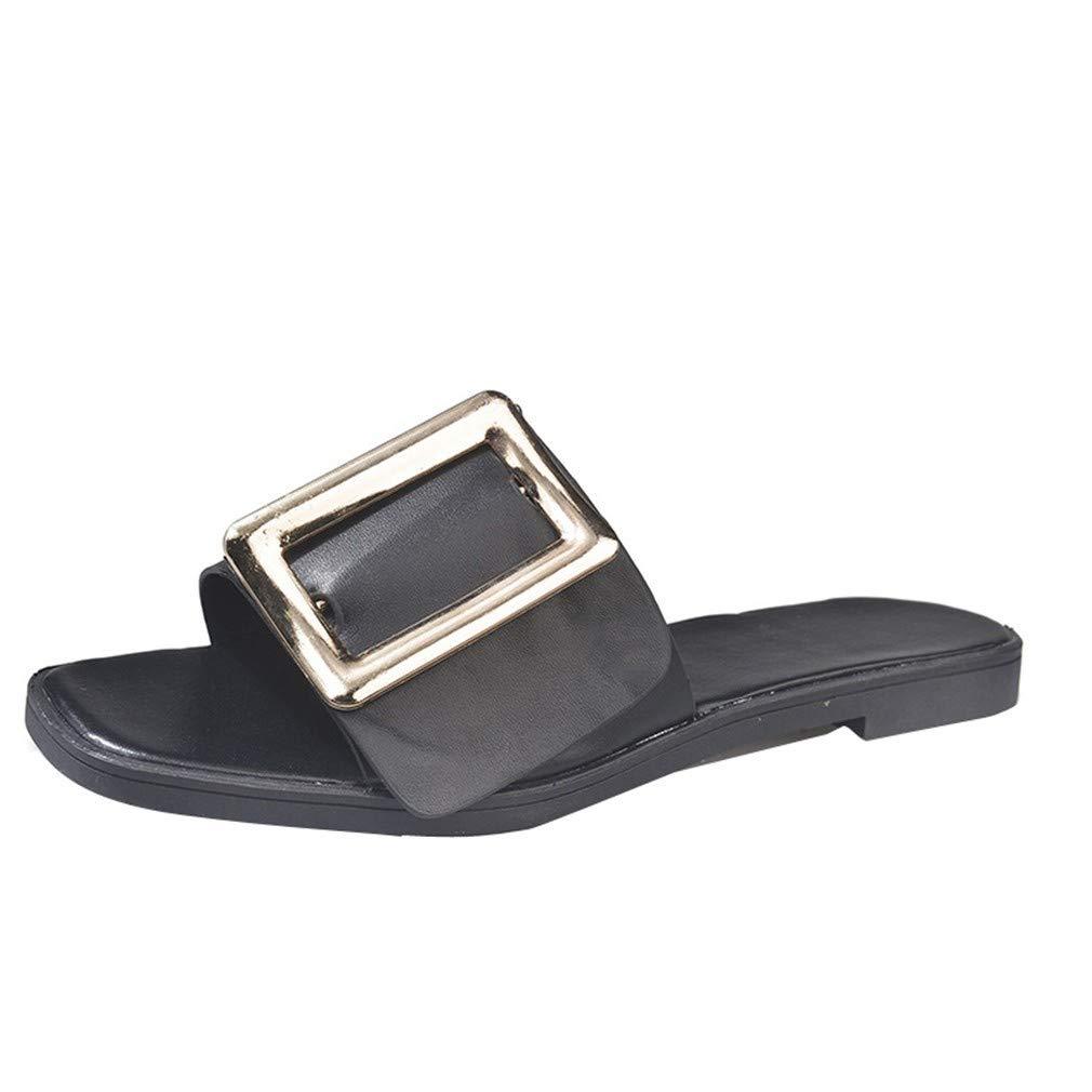 YUCH Black Pantoufles Plates Pantoufles pour Femme pour Black ed1f8fe - shopssong.space