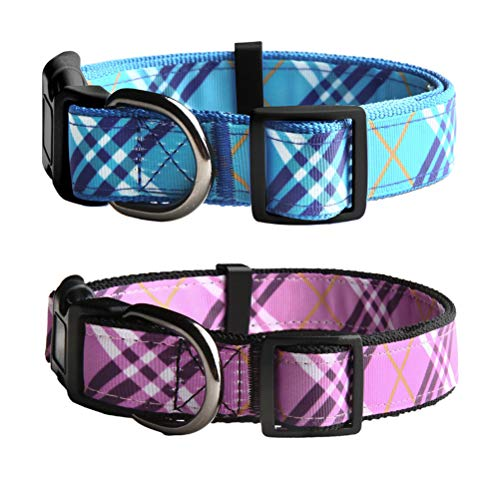 OFPUPPY Plaid Dog Collar for Large Dogs - 2 Pack Adjustable Soft Nylon - Best for Leading - 18' Nylon Collar