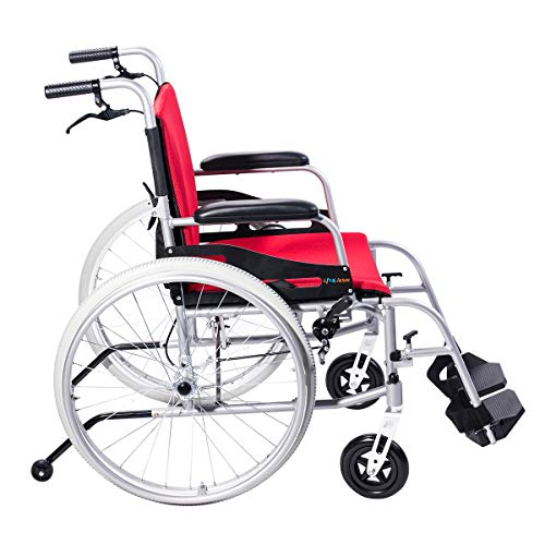 "Magnesium Wheel Rear (Hi-Fortune Wheelchair 21lbs Lightweight Self-propelled Manual Wheelchairs for Adults with Cushion and Travel Bag, Portable and Folding, 17.5"" Seat, Red)"