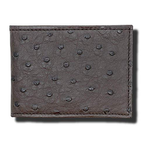 Ostrich Slim Wallet - Brown Genuine Ostrich Leather RFID Wallet - American Factory Direct - Made in the USA by Real Leather Creations FBA996