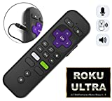 Replacement ROKU Enhanced Voice Remote w/Headphone Jack/Pairing Button/Voice Control/Lost Remote Finder/Game Function and 4 Shortcuts for Roku 4K Players Ultra Premiere/+ Stick/+ Roku 4/ Roku 3