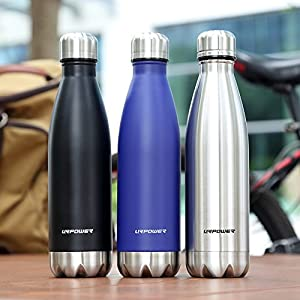 URPOWER Stainless Steel Water Bottle Vacuum Insulated Water Bottle Double Wall BPA Free Leak Proof Water Bottle Perfect Vacuum Water Bottle for Outdoor Sports Hiking Cycling Camping Picnics -17oz