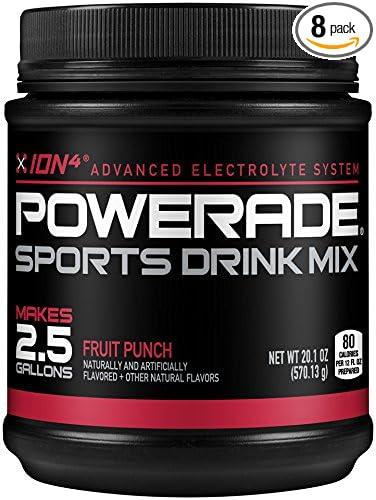 POWERADE Fruit Punch Powder, 2.5 Gallon Mix, 1.26 lb (Pack of 8)