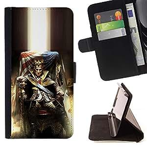 Momo Phone Case / Flip Funda de Cuero Case Cover - Loco Rey EE.UU.;;;;;;;; - HTC One M7