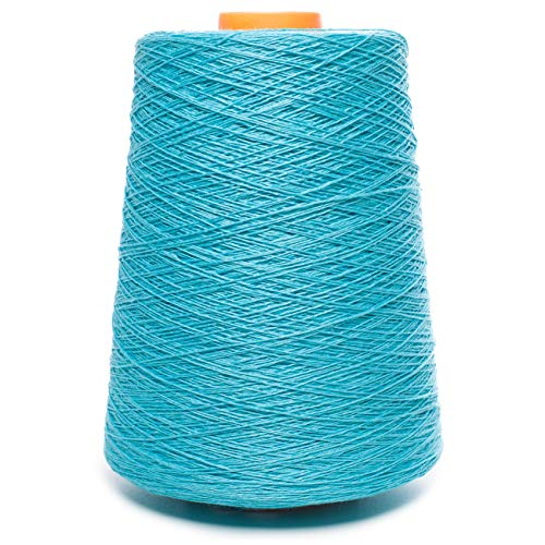 (Linen Yarn Cone - 100% Flax Linen - 1 LBS - Turquoise Bright Blue Yarn - 3 PLY - Sewing Weaving Crochet Embroidering - 3.000 Yard)