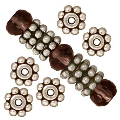 Fine Silver Plated Lead-Free Pewter Daisy Spacer Beads 6mm (Plated Daisy Spacer Beads)