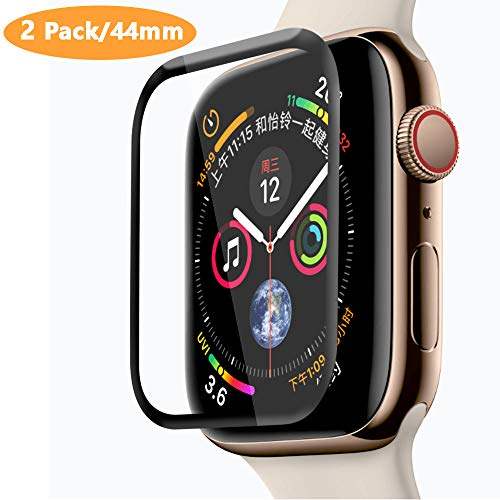 [2 Pack] Fotbor Compatible for New Apple Watch 44mm Series 4 Tempered Glass Screen Protector, [Full Coverage] [Full Glue] 3D Curved 9H Hardness Anti-Scratch Anti-Bubble for Apple Watch 4 - Black