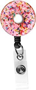 Donut Retractable Badge Reel,Nurse ID Badge Holder with Alligator Clip,24 inch Nylon Cord,Decorative Name Badge Holder(not 3D)