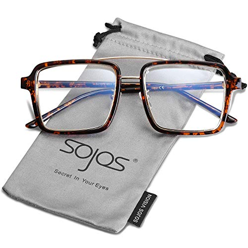 SOJOS Oversized Square Clear Lens Glasses Eyewear for Men and Women SJ5020 with Tortoise&Gold Frame/Clear Lens