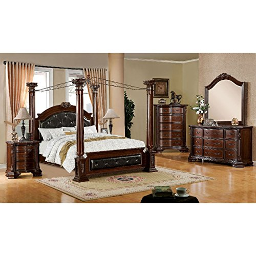 California Poster King Set Bed (Haverfield 4 Piece Poster Canopy Leather Cal King Bed, 1 Nightstand, Dresser, Mirror in Brown Cherry)