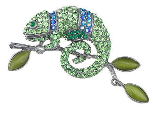 Alilang Peridot Green Colored Crystal Rhinestone Chameleon Lizard Pin Brooch Silvery Tone Reptile Blue