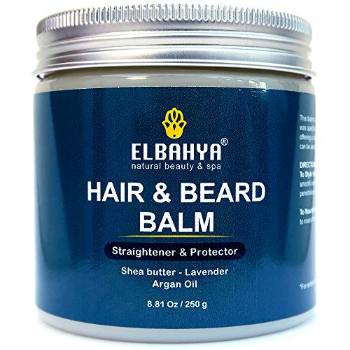 Organic Hair & Beard Care Balm Straightener, Conditioner & Protector For Men & Women - Multi-benefit Styling Wax Balm with Natural Shea Butter, Argan Oil and Lavender | 200g / 7.05 Oz ()