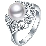 Sumanee Women Ring 925 Silver Pearl Zircon Jewelry 5 Size 6-10 (6)