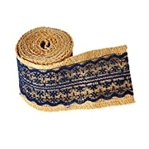 2.08M Natural Jute Burlap Roll Ribbon with Lace for Wedding Belt Strap Craft Jute Hessian,Navy
