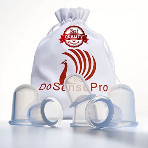 Acupuncture Fireless Cupping Therapy Set by DoSensePro. Ergonomic, Flexible Medical Grade Silicone 6 Vacuum Massage Cups for Arthritis, Pain Relief, Relaxation, Anti-Aging & Cellulite Treatment
