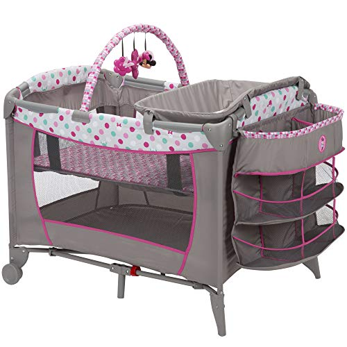 Disney Disney Baby Sweet Wonder Play Yard, Minnie Dot Fun – 3 Tiers of Storage