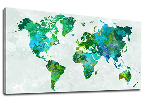 (yearainn Canvas Wall Art Green World Map Painting Contemporary Artwork Watercolor Map of The World Picture for Living Room Bedroom Office Wall Decor Large Canvas Prints 24