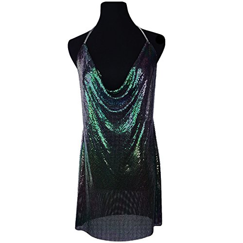 Ingemark Sexy Clubwear Backless Sequin Dress For Women Cocktail Metalic Mesh Harness Body Chain - Mesh Metal Top