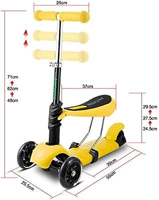 AMDirect Patinete 3 en 1 Scooter con 3 Ruedas Led Luz con Asiento Desmontable Manillar Ajustable para Niños de 2-7 Años
