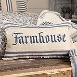 Piper Classics Doylestown Blue Farmhouse Throw Pillow Cover w/Grain Sack Stripe Appliqued Border, 12' x 20', Blue & Cream, Vintage Farmhouse Rustic Home Décor Accent