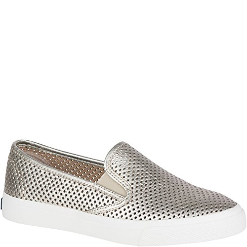 Sperry Top-Sider Seaside Perforated Sneaker Women 7.5 Platinum