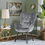 HOMEMAKE Wingback Accent Armchair Velvet Fabric KD Solid Wood Legs Leisure Chair