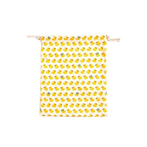 BIGBOBA Lot de 3lin Jaune Canard Imprimé Sac de rangement Drawstring Organisateurs Drawstring sac pour la protection de l'environnement Sac Cabas Voyages 14* 16cm