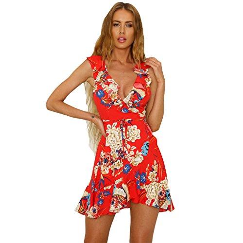 c3a95124bafa MIOIM Damen V-Ausschnitt Bodycon Strandkleid Blumen Boho Minikleid  Sommerkleid Wickelkleid Mini Club Kleider Partykleid