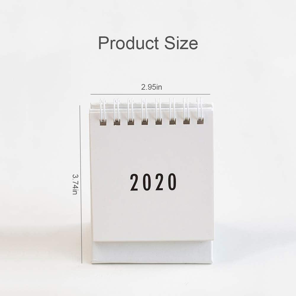 School and Office Black 2020 Desk Calendar 3.7 x 2.95 Mini Desk Calendar Best for Home