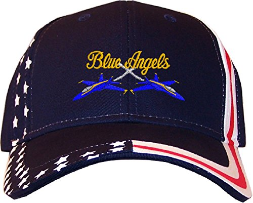 Spiffy Custom Gifts Blue Angels Embroidered Stars & Stripes Baseball Cap Navy