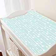 Carousel Designs Icy Mint and White Flying Arrow Changing Pad Cover - Organic 100% Cotton Change Pad Cover - Made in the USA