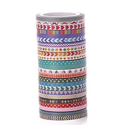AGU Set Of 24 Cute 3mm Slim Masking Washi Tape For Decoration And DIY Craft