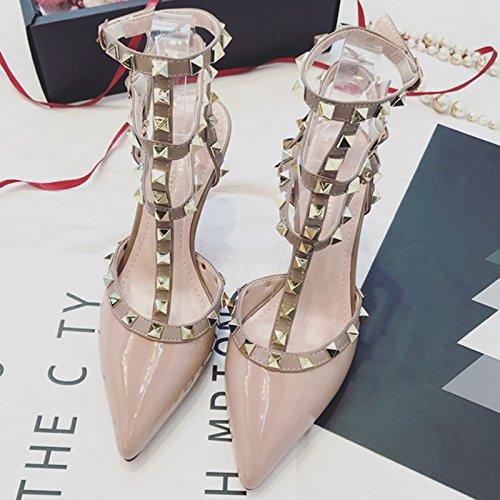 Pink Vivioo Zapatos Solo Tacones Nocturnos Mujer Fina Sandalias Tacón Shoesspring Con Clubes Alto 9cm De Hebilla FRqg6pSF