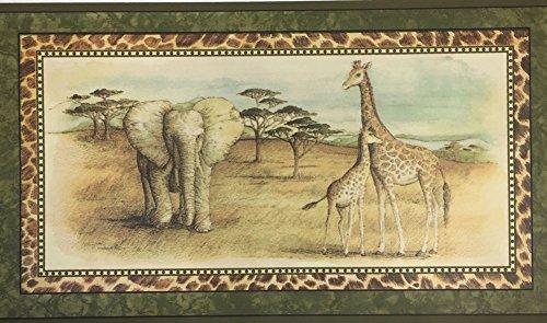 African Safari Animals Elephant Giraffe Leopard Wallpaper Border Imperial no. ()