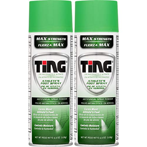 (Ting Antifungal Spray Powder for Athlete's Foot, Jock Itch, Ringworm | Max Strength | 4.5-Ounces | 2-Pack)