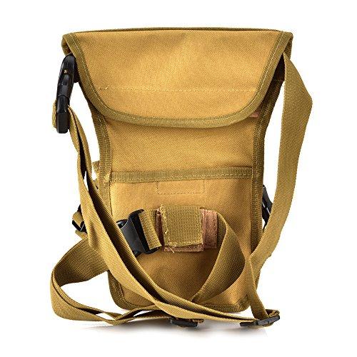 Fontic 15x13x28cm Multi-funktion Wasserdicht Hüfttasche Beintasche aus Nylon 600Dx900,Sport Taktische Airsoft Militär Tropfen Bein Schenkel Bag Dienstprogramm Gürtel Tasche Beinbeutel Khaki