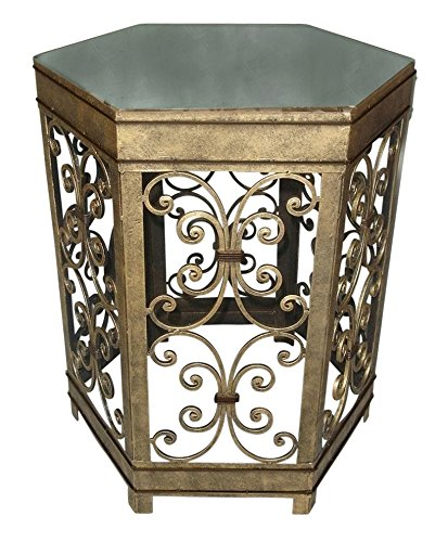 Amazing Decor Antique Gold Iron Hexagonal Side Table With Scroll Designs