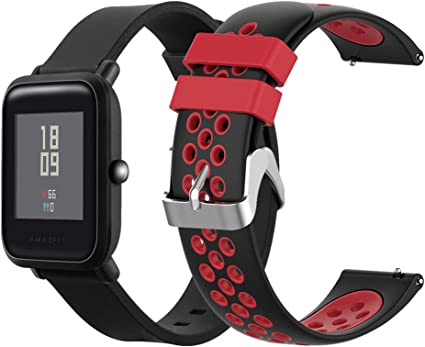 EEweca 2-Pack Sport Bands Compatible with Amazfit Bip Smartwatch Breathable Replacement Strap, Black + Black-Red