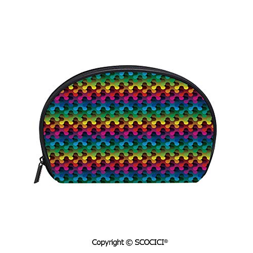 SCOCICI Durable Printed Makeup Bag Storage Bag Trippy Gradient Puzzle Style Futuristic Curved Shapes Multimedia Concept Decorative for Women Girl Student