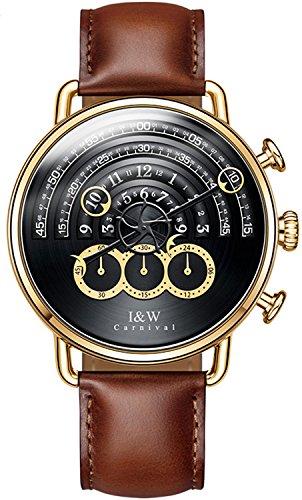 (Luxury Men's Big Dial Chronograph Sapphire Glass Waterproof Quartz Black Leather Gold Watches (Gold case & Black dial & Brown Strap))