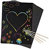 Peachy Keen Crafts 50 Piece Rainbow Scratch Paper - 4 Wooden Styluses Included - Create Rainbow Scratch Art with This Jumbo Craft Pack