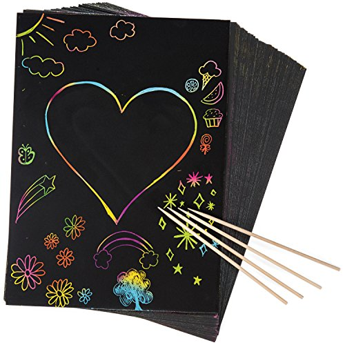 Peachy Keen Crafts 50 Piece Rainbow Scratch Paper - 4 Wooden Styluses Included - Create Rainbow Scratch Art with This Jumbo Craft Pack ()