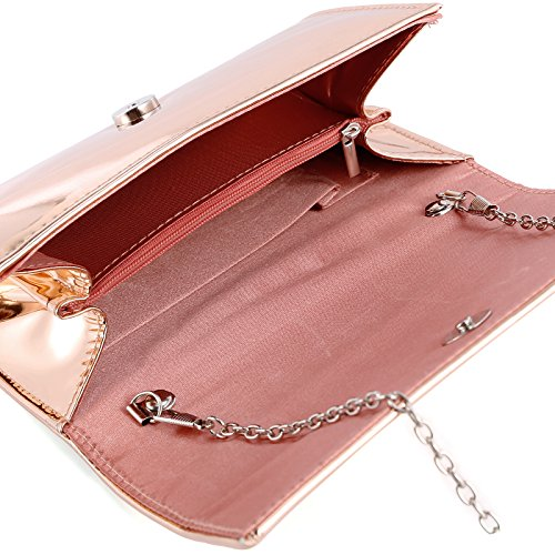 Wedding Clutch Anladia Patent Small Prom Metallic Evening Bags Designer Women Ladies Gold Rose xqwq0HfOp