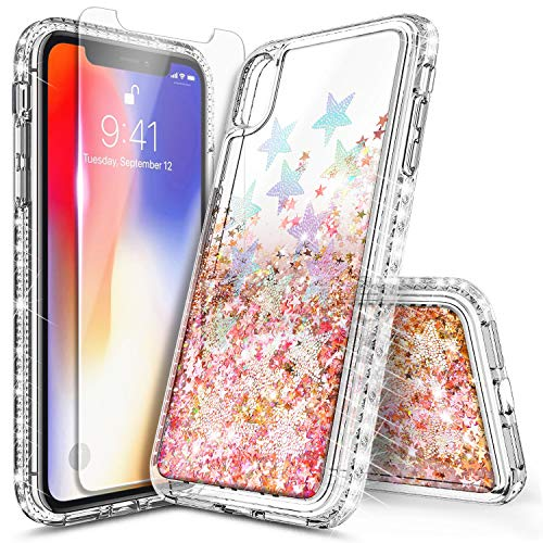 iPhone XR Case with Tempered Glass Screen Protector for Girls Women, NageBee Glitter Bling Liquid Floating Quicksand Waterfall Sparkle Diamond Durable Cute Case for iPhone XR 6.1 inch -Star