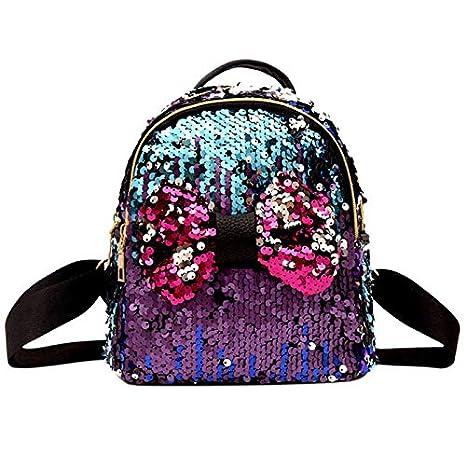 MOCA Mermaid Magic Bowknot Sequins Bag Women s Kid Girls Girl Mini Small  Travel Daypack Casual Backpack 8a1b6efda592