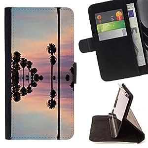 "For Sony Xperia M5 E5603 E5606 E5653,S-type Reflexión cielo rosado árboles Agua"" - Dibujo PU billetera de cuero Funda Case Caso de la piel de la bolsa protectora"