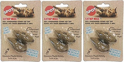 (6 Pack) Ethical Pet 100-Percent Catnip Candy Mice Cat Toy (3 Packages each Containing 2 Toys) (Catnip Mice 100%)