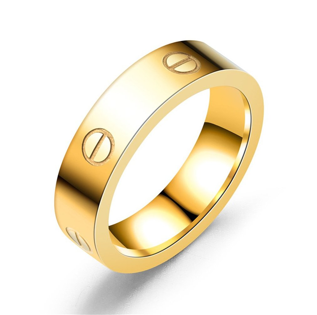 HIMAN Gold Love Ring Couples Promise Engagement Wedding Band Titanium Stainless Steel Size 8