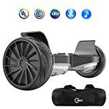 NHT All Terrain Hoverboard 8.5 Inch Wheels Off-Road Electric Smart Self Balancing Scooter with 3 Speed Mode, Bluetooth Speaker, LED Lights – UL2272 Certified, Black-Black, Black-Red